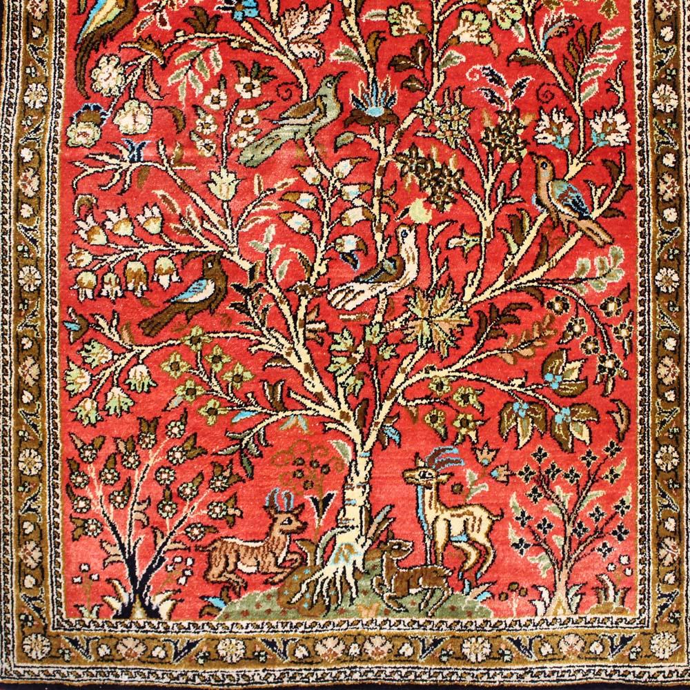 SQAS-540 クム産ペルシャ絨毯 88×57cm
